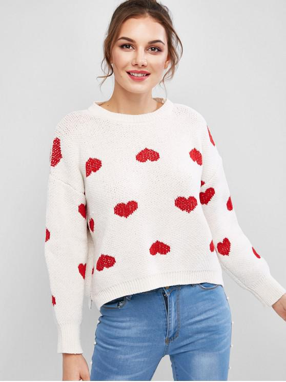 sale Heart Slit Sweater - WHITE ONE SIZE