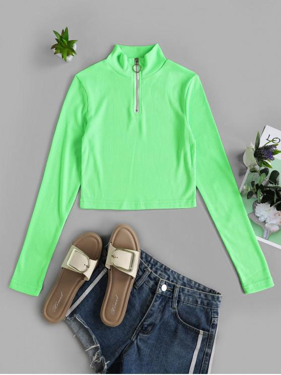 sale Half Zip Mock Neck Crop Tee - GREEN S