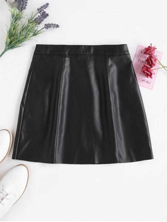 women's ZAFUL PU Leather Mini Skirt - BLACK S