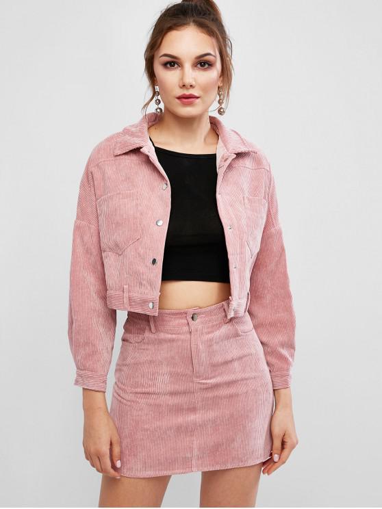 outfits Corduroy Drop Shoulder Pocket Skirt Set - PINK M