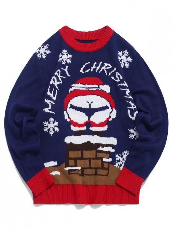 online Santa Claus Letter Pattern Long-sleeved Sweater - NAVY BLUE XL