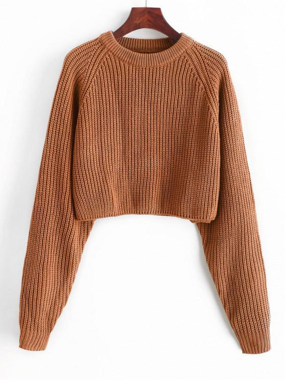 shops ZAFUL Raglan Sleeve Crop Jumper Sweater - TIGER ORANGE M
