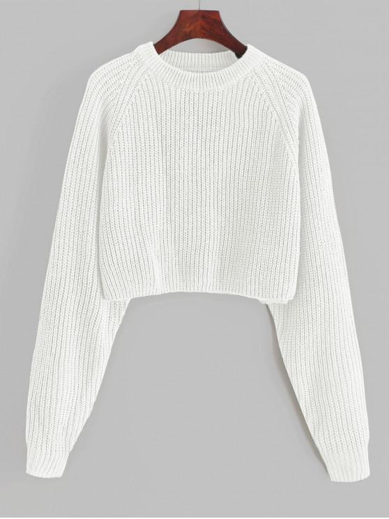 lady ZAFUL Raglan Sleeve Crop Jumper Sweater - WHITE S