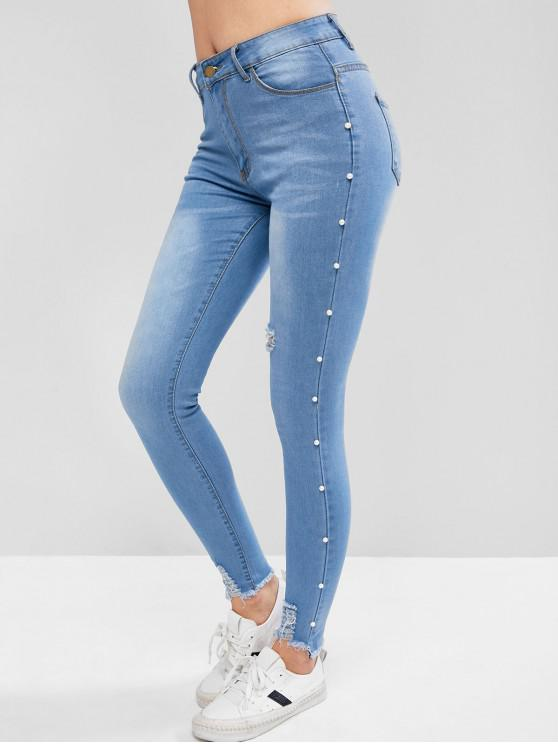 womens Ripped Beading Jeans - JEANS BLUE M
