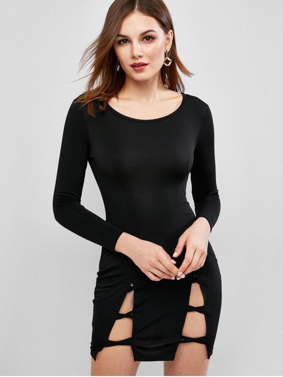 ladies Cutout Long Sleeve Mini Bodycon Dress - BLACK M