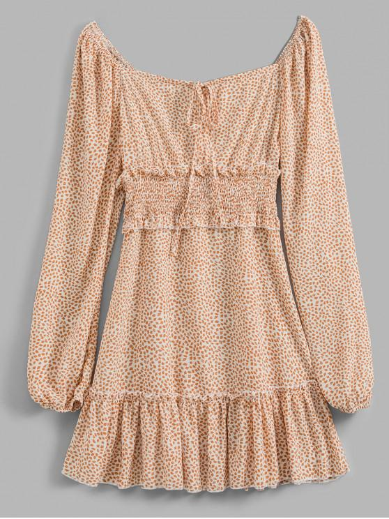 latest Smocked Printed Long Sleeve Milkmaid Dress - APRICOT XL