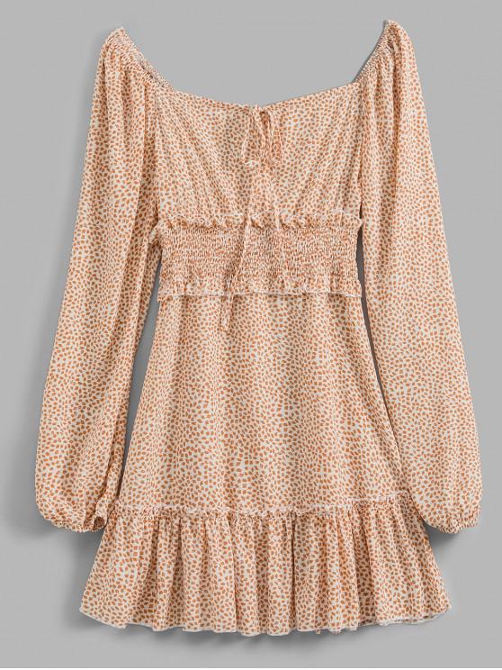 sale Smocked Printed Long Sleeve Milkmaid Dress - APRICOT S