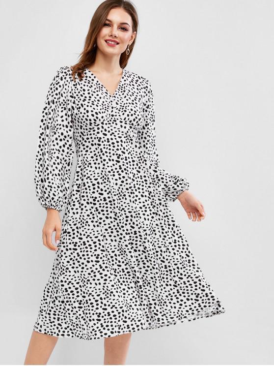 best Button Loop Dalmatian Dot Long Sleeve Dress - MULTI M