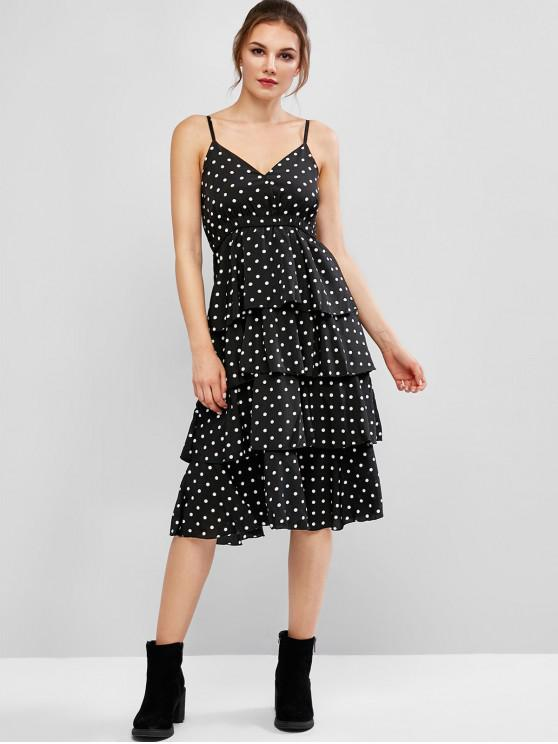 best Layered Polka Dot Flounce Cami Midi Dress - BLACK XL