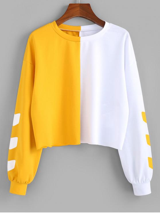 hot ZAFUL Colorblock Drop Shoulder Raw Hem Sweatshirt - MULTI-A M