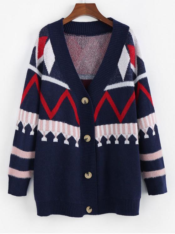 shops ZAFUL Raglan Sleeve Button Up Longline Cardigan - CADETBLUE M