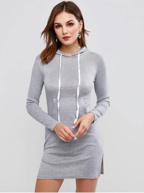 Manga larga hendidura bolsillo delantero del vestido ocasional - Gris M