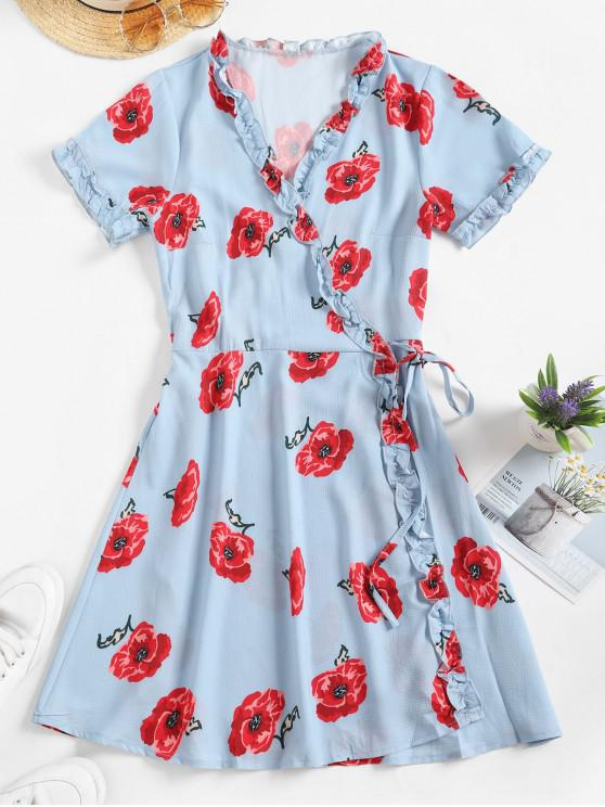 hot Flower Print Frilled Short Wrap Dress - BABY BLUE M