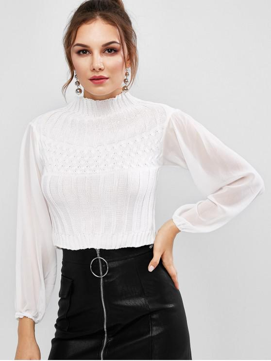 new Mock Neck Mesh Spliced Basic Sweater - WHITE ONE SIZE