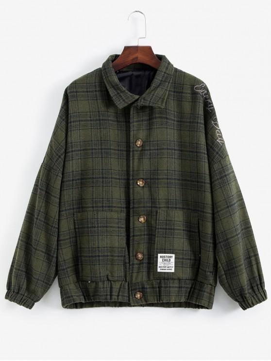 chic Letter Embroiderd Plaid Drop Shoulder Coat - ARMY GREEN M