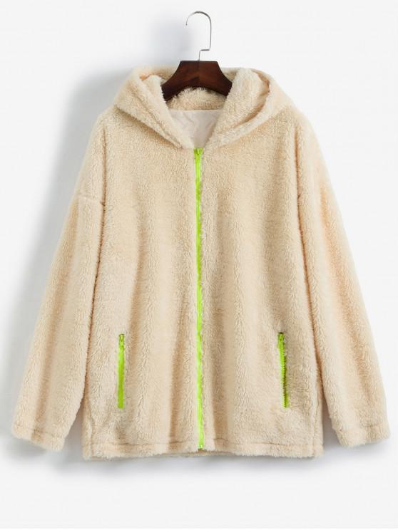 affordable ZAFUL Pockets Neon Zippers Hooded Teddy Coat - BEIGE XL