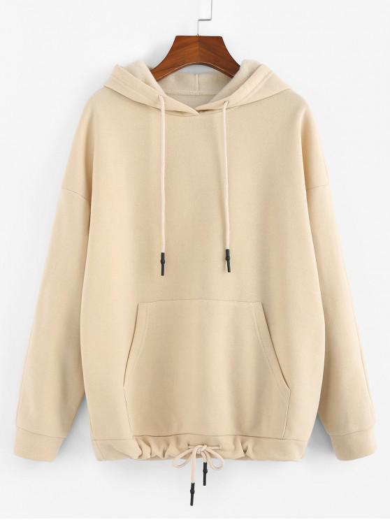 affordable ZAFUL Kangaroo Pocket Drop Shoulder Drawstring Hoodie - BEIGE M