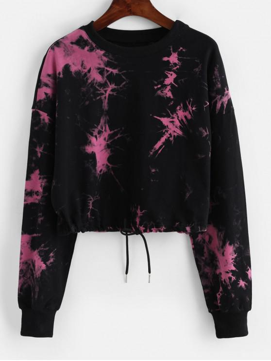 fancy Tie Dye Drop Shoulder Cropped Sweatshirt - BLACK S