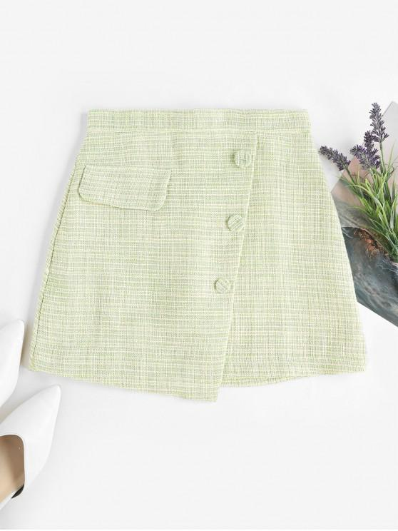 shops Overlap Buttoned Plaid Tweed Skirt - LIGHT GREEN L