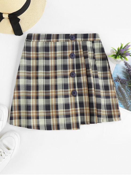 shops Pleated Panel Buttoned Plaid Mini Skirt - MULTI-B L