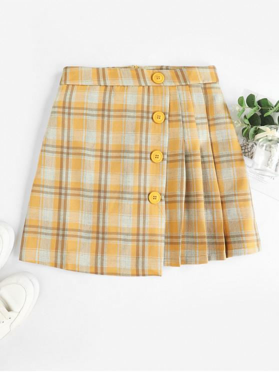 unique Pleated Panel Buttoned Plaid Mini Skirt - MULTI-A XL