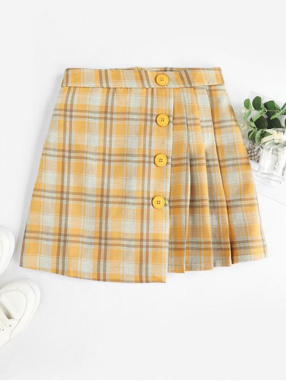 Plisada Panel abotonado tela escocesa mini falda - Multicolor-A M
