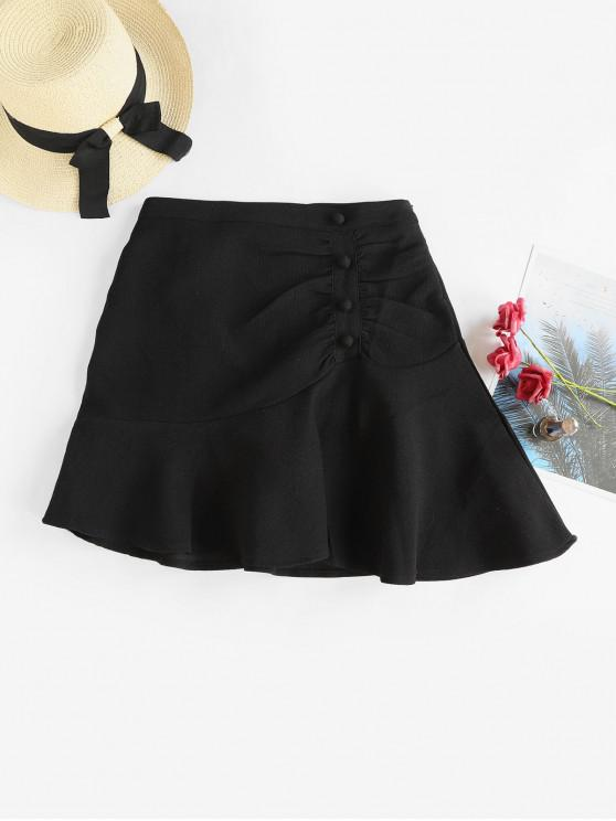 affordable Ruched Buttoned A Line Mini Skirt - BLACK S