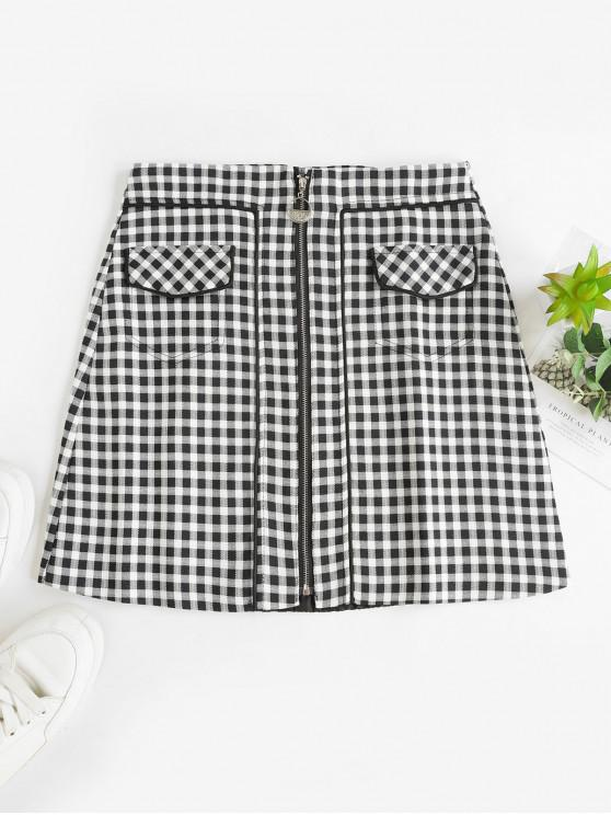Bolsillos faux cremallera frontal tela escocesa mini falda - Negro XL