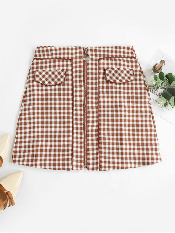 ladies Faux Pockets Zip Front Plaid Mini Skirt - LIGHT BROWN L