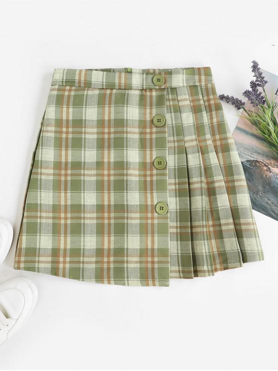 unique Pleated Panel Buttoned Plaid Mini Skirt - MULTI-C L