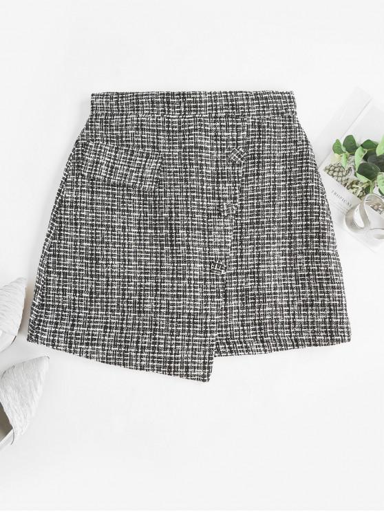 online Overlap Buttoned Plaid Tweed Skirt - BLACK XL