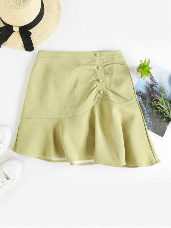 unique Ruched Buttoned A Line Mini Skirt - LIGHT GREEN S