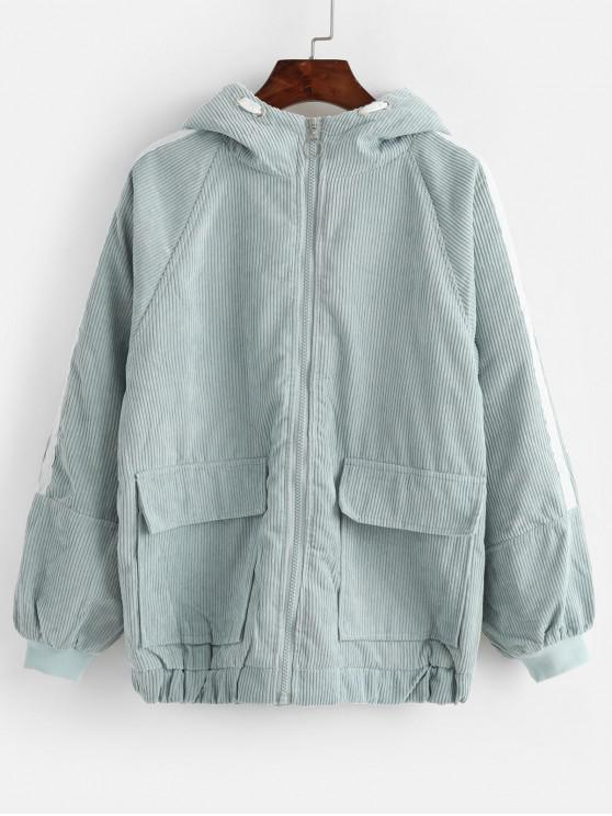 lady Hooded Corduroy Fluffy Lined Flap Pocket Zip Coat - MACAW BLUE GREEN M