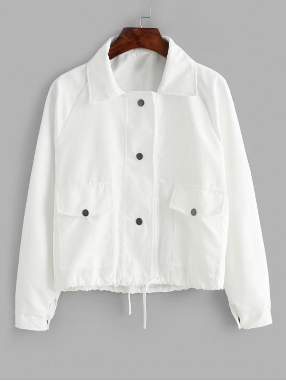 hot Snap Button Flap Pocket Raglan Sleeve Jacket - WHITE ONE SIZE