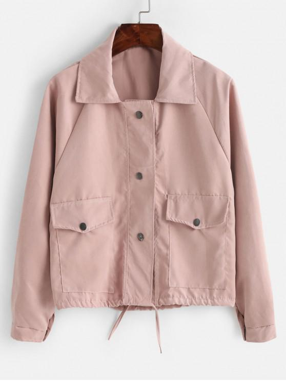affordable Snap Button Flap Pocket Raglan Sleeve Jacket - PINK ONE SIZE