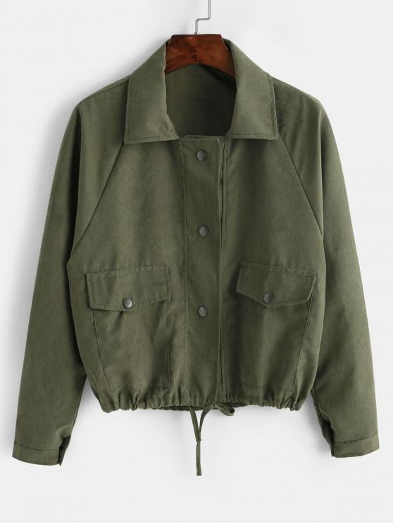 lady Snap Button Flap Pocket Raglan Sleeve Jacket - SEA GREEN ONE SIZE