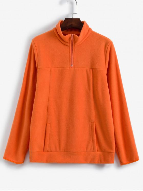Barrio bolsillo frontal Zip Fleece pulóver sudadera - Naranja L