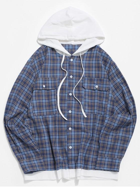 ladies Plaid Pattern Long-sleeved Pocket Shirt - BLUE M