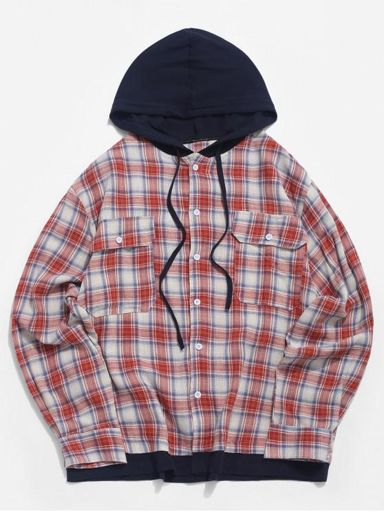outfits Plaid Pattern Long-sleeved Pocket Shirt - RED L