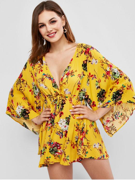 womens Drawstring Floral Mini Surplice Dress - GOLDEN BROWN L