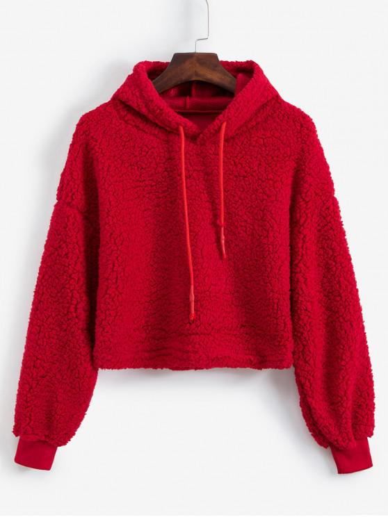 women Plain Drawstring Drop Shoulder Teddy Hoodie - RED XL