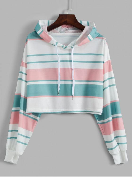 fashion Drop Shoulder Drawstring Stripes Hoodie - MULTI M