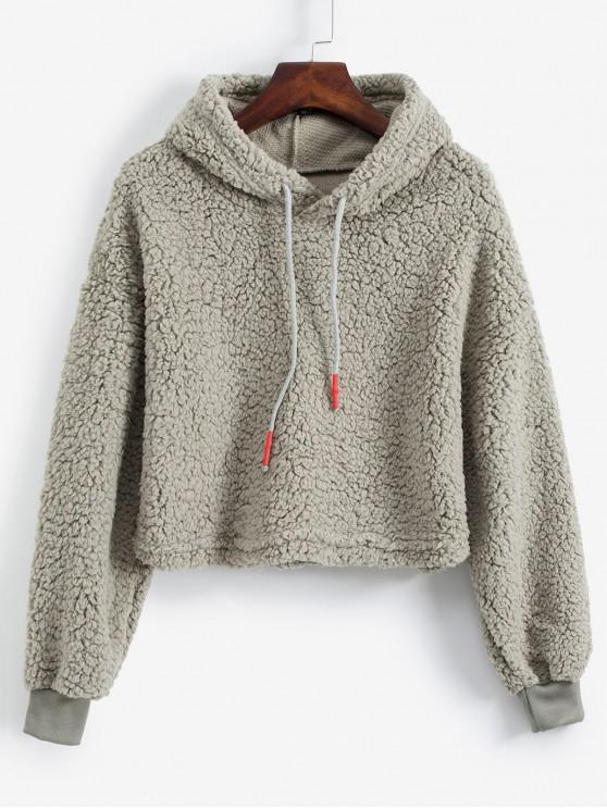 buy Plain Drawstring Drop Shoulder Teddy Hoodie - GRAY XL