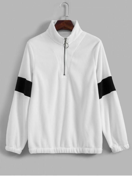 Sweat-Shirt Bicolore à Demi-Zip en Laine - Blanc M