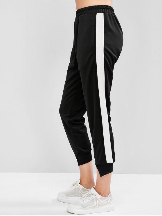 fancy Two Tone Slit Hem Pocket Jogger Pants - BLACK L