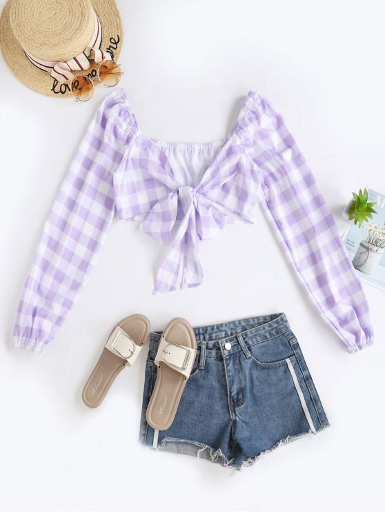 buy Gingham Print Front Tie Cropped Blouse - MAUVE S
