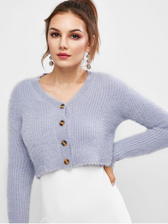 women Fuzzy Buttons Cropped Cardigan - BLUE S
