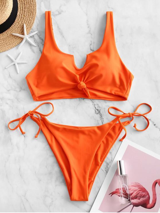 fancy ZAFUL V-notch Knot Tie Side Bikini Swimsuit - BASKET BALL ORANGE L