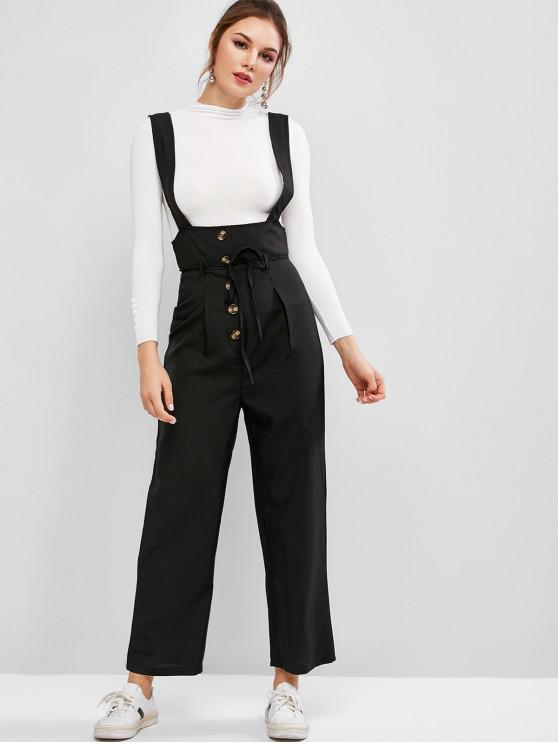 chic Mock Buttons Front Wide Leg Suspenders Pants - BLACK S