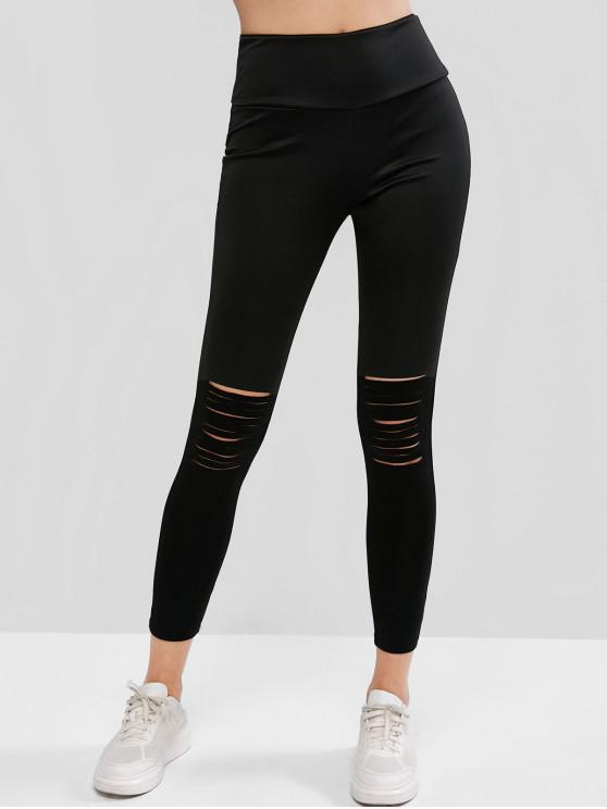 new Ripped High Rise Wide Waistband Stretchy Leggings - BLACK XL